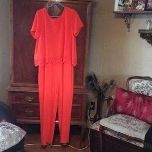 Beautiful orange crepe jumpsuit with overlay